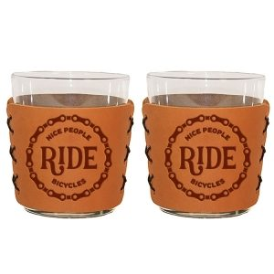 Highball Set of 2 with Glasses: Nice People Ride Bikes