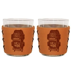 Highball Set of 2 with Glasses: Travel Far & Wide