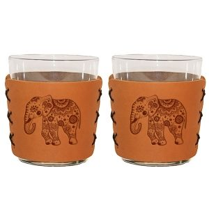Highball Set of 2 with Glasses: Elephant Mandala