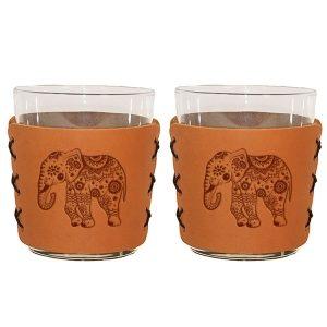 Highball Set of 2 with Glasses: Elephant Mandala