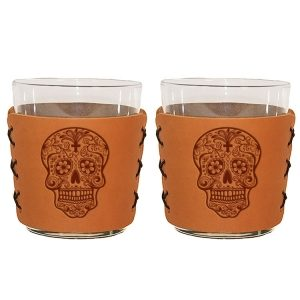 Highball Set of 2 with Glasses: Candy Skull