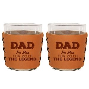 Highball Set of 2 with Glasses: Dad - Man, Myth, Legend
