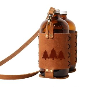 Double 32oz Growlette Tote with Strap: Pine Trees