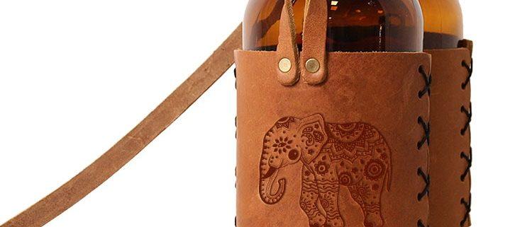 Double 32oz Growlette Tote with Strap: Elephant Mandala