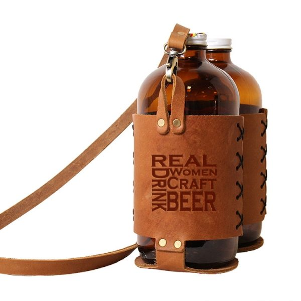 Double 32oz Growlette Tote with Strap: Real Women...Beer