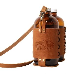 Double 32oz Growlette Tote with Strap: Whiskey