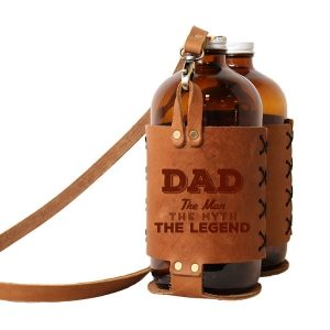 Double 32oz Growlette Tote with Strap: Dad - Man, Myth, Legend