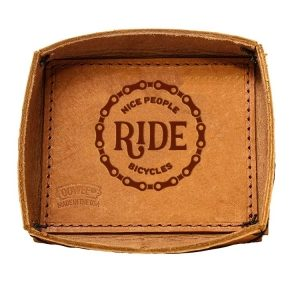 Leather Desk Tray: Nice People Ride Bikes