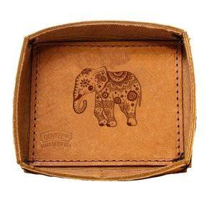 Leather Desk Tray: Elephant Mandala
