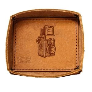 Leather Desk Tray: Twin Lens Camera