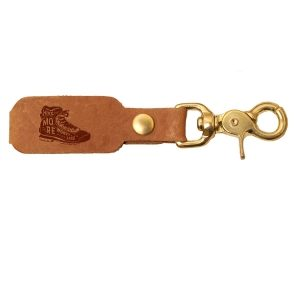 LOGO Leather Key Chain: Hike More, Worry Less