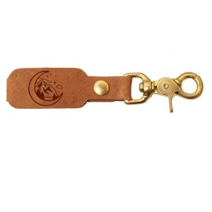 LOGO Leather Key Chain: Mountains & Moon