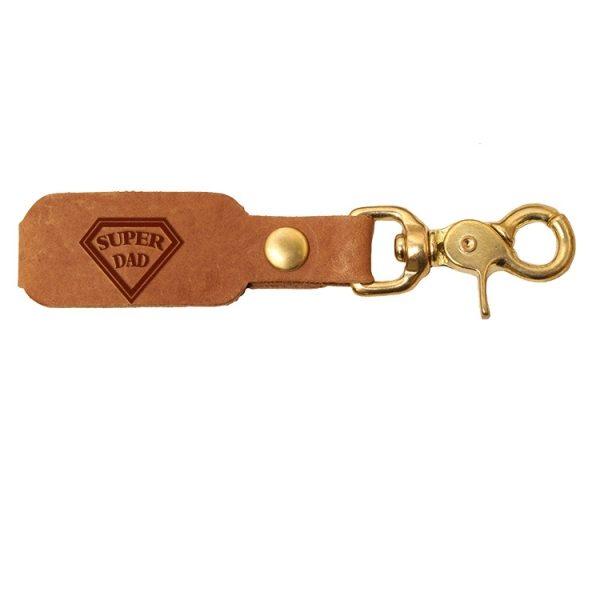 LOGO Leather Key Chain: Super Dad