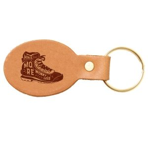 Oval Key Chain: Hike More, Worry Less