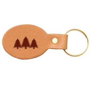 Oval Key Chain: Pine Trees