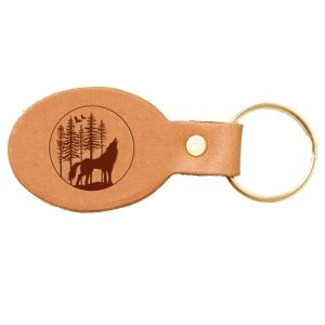 Oval Key Chain: Howling Wolf