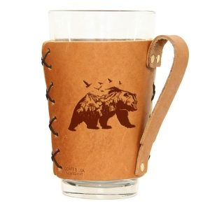 Pint Holder with Handle: Mountain Bear