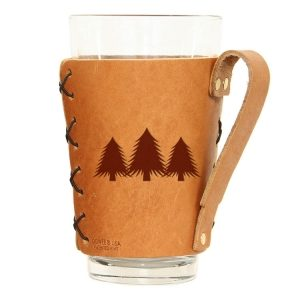Pint Holder with Handle: Pine Trees