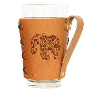 Pint Holder with Handle: Elephant Mandala