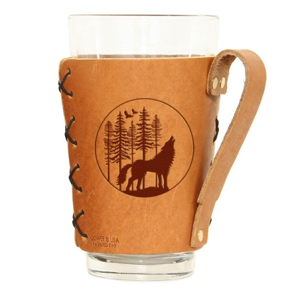 Pint Holder with Handle: Howling Wolf