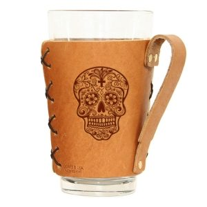 Pint Holder with Handle: Candy Skull