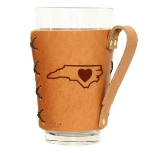 Pint Holder with Handle: NC Heart
