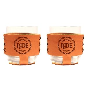 9oz Rocks Sleeve Set of 2 with Glasses: Nice People Ride Bikes