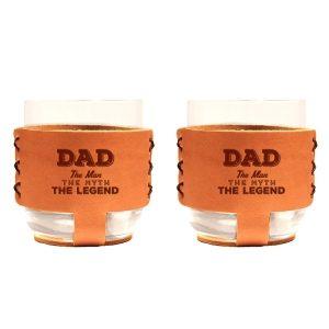 9oz Rocks Sleeve Set of 2 with Glasses: Dad - Man, Myth, Legend
