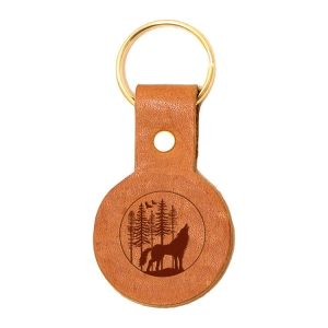 Round Key Chain: Howling Wolf