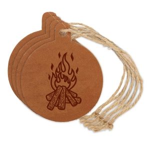 Round Ornament (Set of 4): Camp Fire
