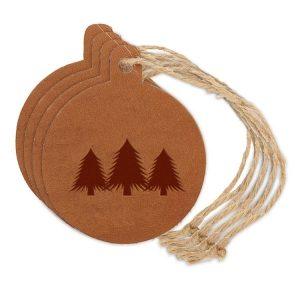 Round Ornament (Set of 4): Pine Trees
