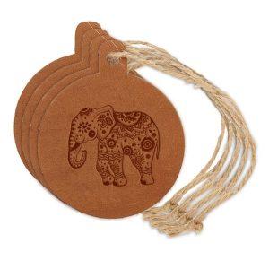 Round Ornament (Set of 4): Elephant Mandala