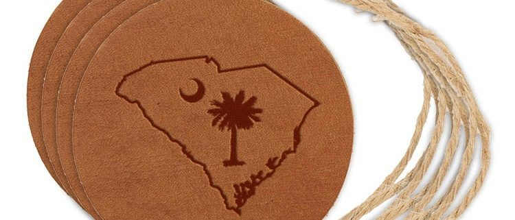 Round Ornament (Set of 4): SC Palmetto