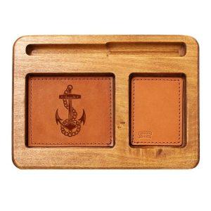Hardwood Desk Organizer with Leather Inlay: Anchor
