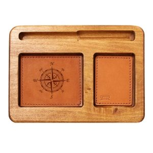 Hardwood Desk Organizer with Leather Inlay: Compass Rose