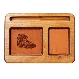 Hardwood Desk Organizer with Leather Inlay: Hike More, Worry Less