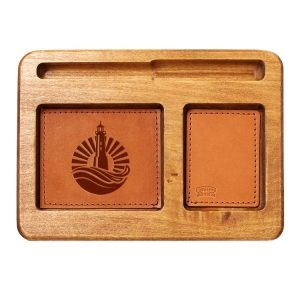 Hardwood Desk Organizer with Leather Inlay: Light House