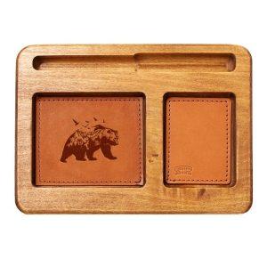 Hardwood Desk Organizer with Leather Inlay: Mountain Bear