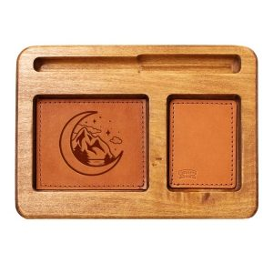 Hardwood Desk Organizer with Leather Inlay: Mountains & Moon
