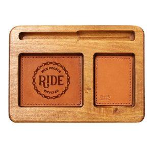 Hardwood Desk Organizer with Leather Inlay: Nice People Ride Bikes