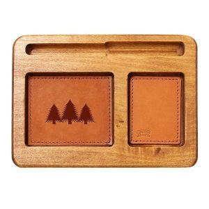 Hardwood Desk Organizer with Leather Inlay: Pine Trees