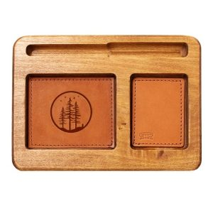 Hardwood Desk Organizer with Leather Inlay: Starry Trees
