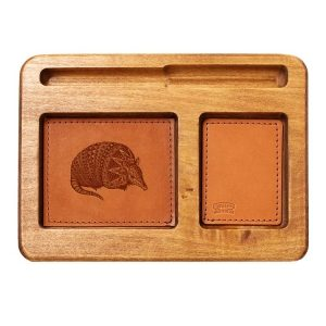 Hardwood Desk Organizer with Leather Inlay: Armadillo
