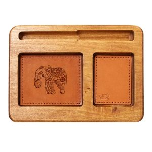 Hardwood Desk Organizer with Leather Inlay: Elephant Mandala