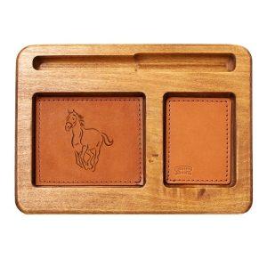 Hardwood Desk Organizer with Leather Inlay: Horse