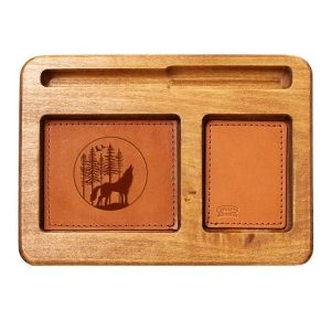 Hardwood Desk Organizer with Leather Inlay: Howling Wolf