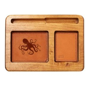 Hardwood Desk Organizer with Leather Inlay: Octopus