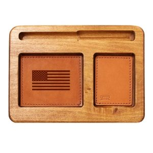 Hardwood Desk Organizer with Leather Inlay: American Flag