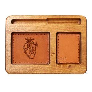 Hardwood Desk Organizer with Leather Inlay: Heart