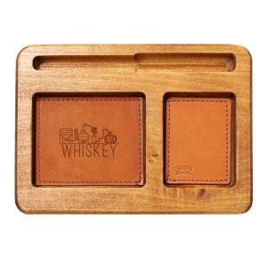 Hardwood Desk Organizer with Leather Inlay: Whiskey